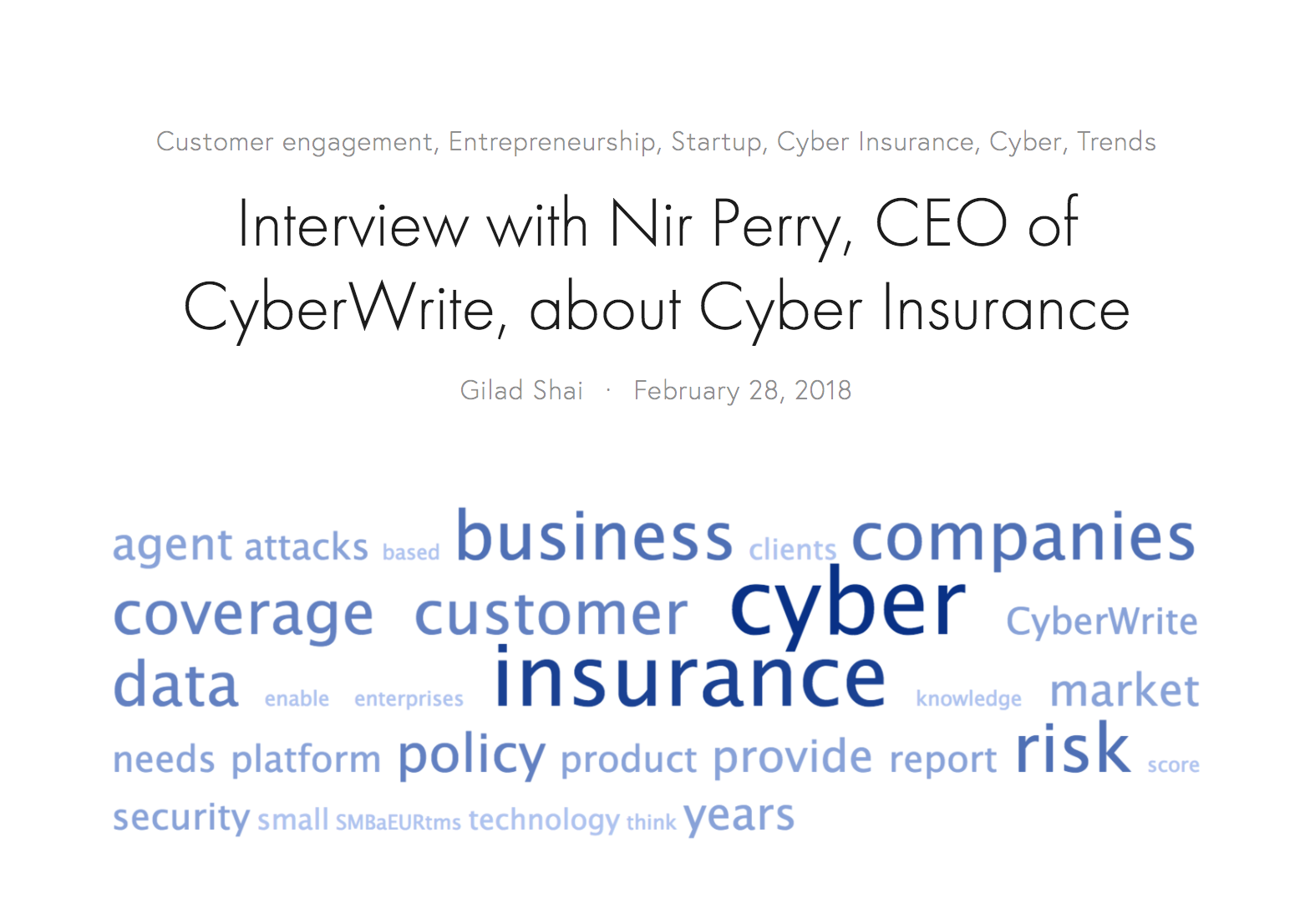 Interview with Nir Perry on Insurtech.me on Cyberwrite